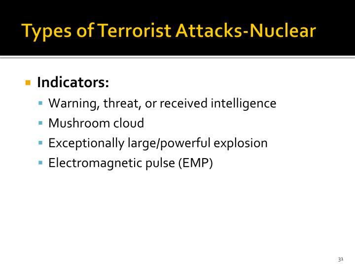 Types of Terrorist Attacks-Nuclear