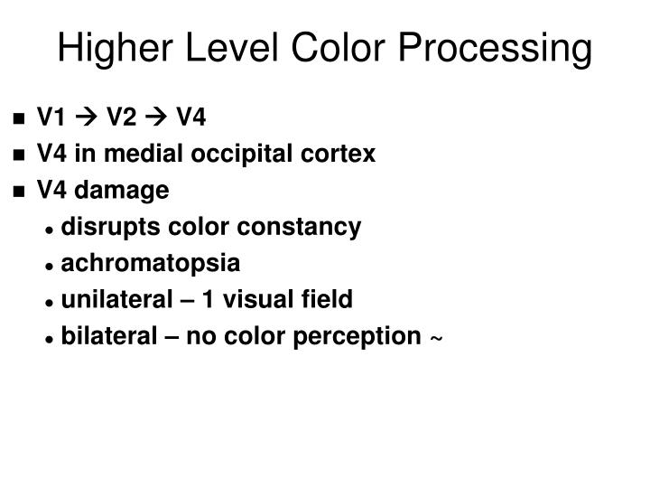 Higher Level Color Processing