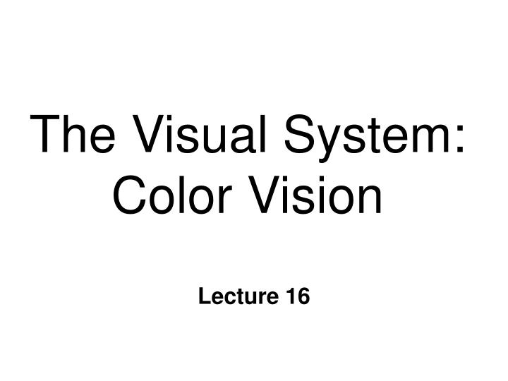 The visual system color vision