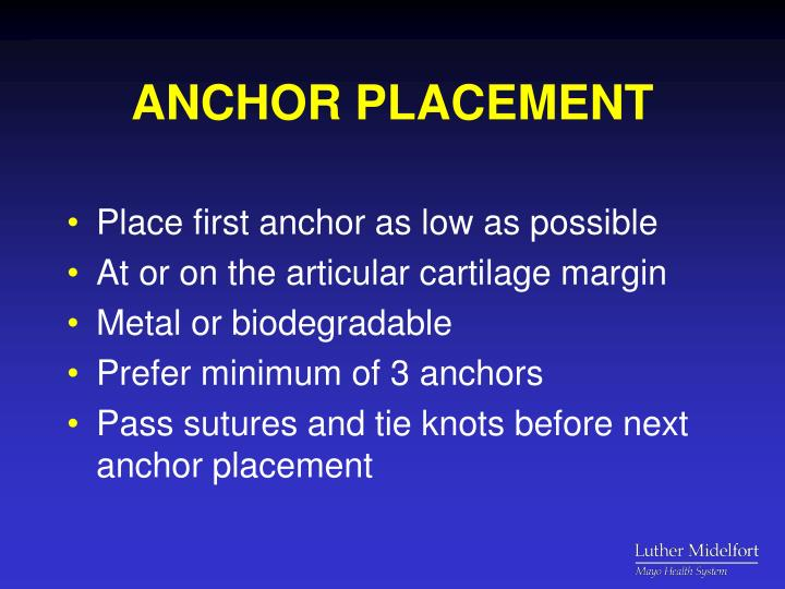 ANCHOR PLACEMENT