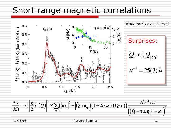 Short range magnetic correlations