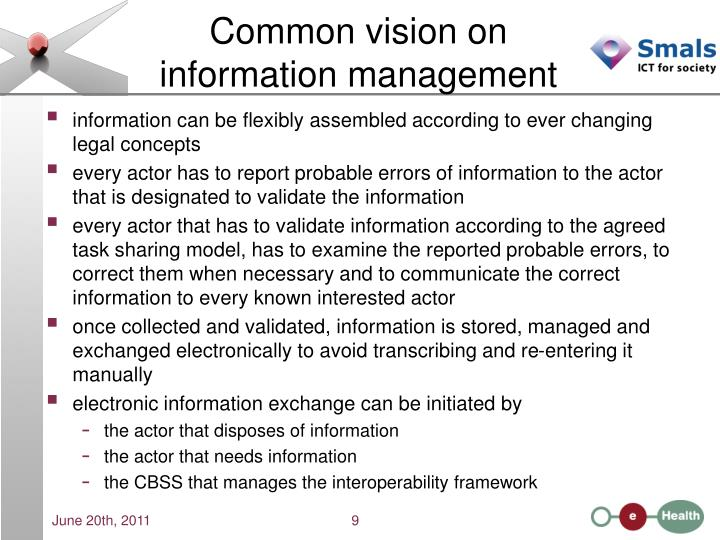 Common vision on information management