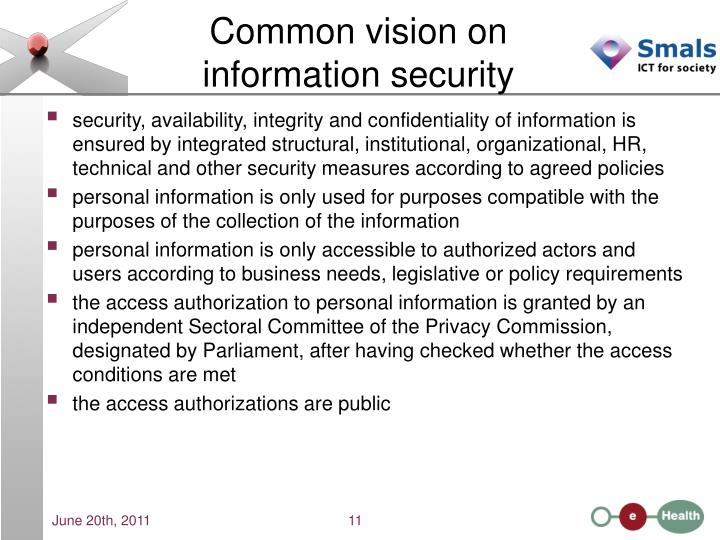 Common vision on information security