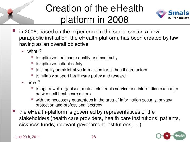 Creation of the eHealth platform in 2008