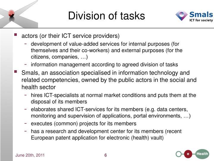 Division of tasks
