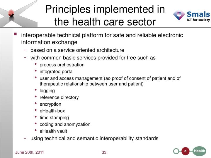 Principles implemented in the health care sector