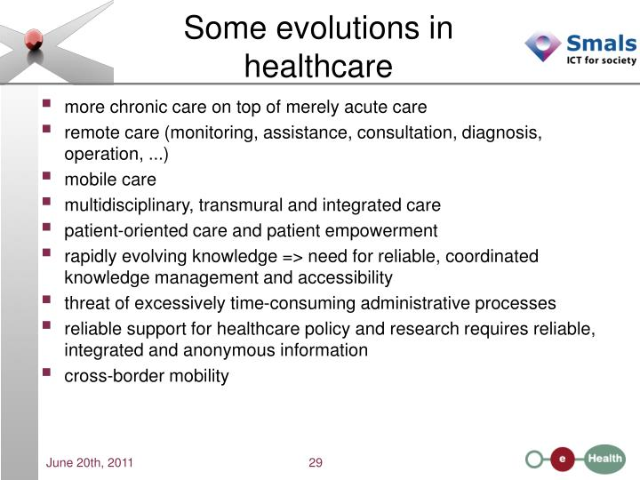 Some evolutions in healthcare