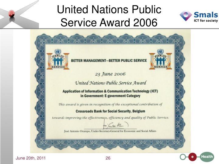 United Nations Public Service Award 2006