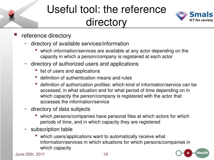 Useful tool: the reference directory