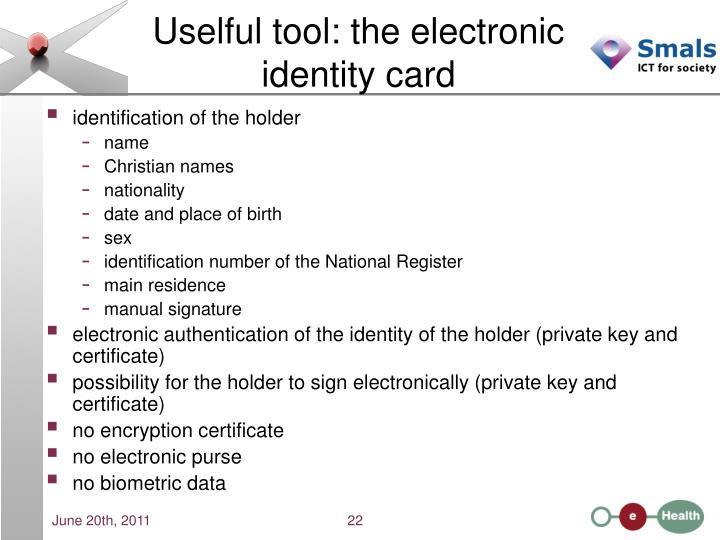 Uselful tool: the electronic identity card