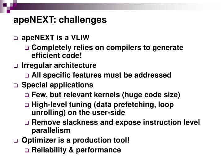 apeNEXT: challenges