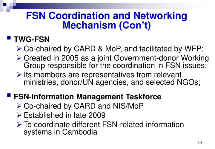 FSN Coordination and Networking Mechanism (