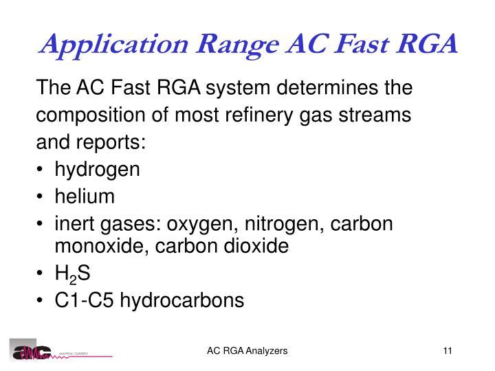 Application Range AC Fast RGA