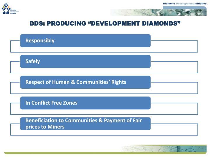 "DDS: PRODUCING ""DEVELOPMENT DIAMONDS"""
