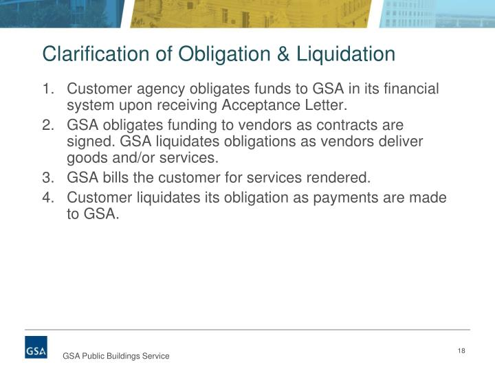 Clarification of Obligation & Liquidation