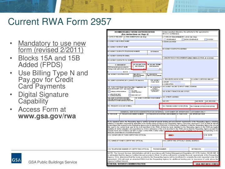 Current RWA Form 2957