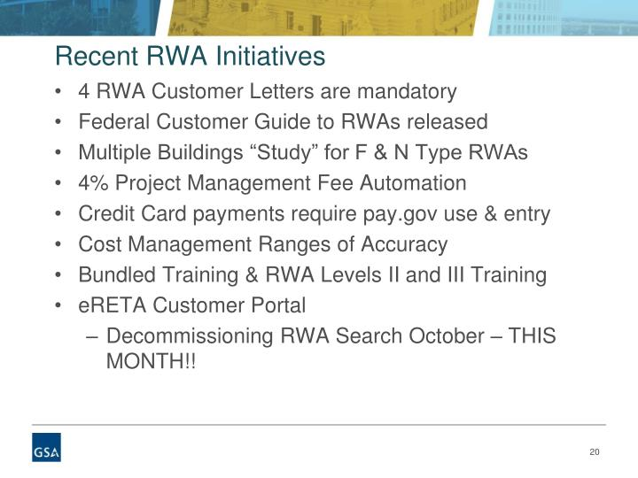 Recent RWA Initiatives