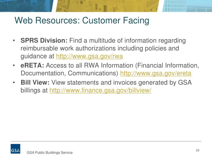 Web Resources: Customer Facing