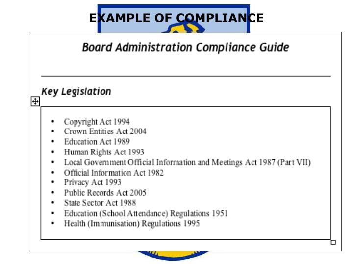 EXAMPLE OF COMPLIANCE
