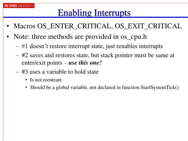 Enabling Interrupts
