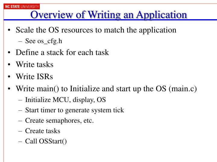 Overview of Writing an Application