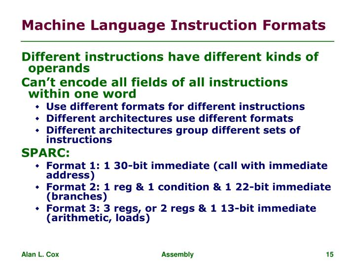 Machine Language Instruction Formats