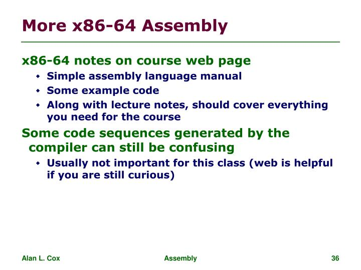 More x86-64 Assembly