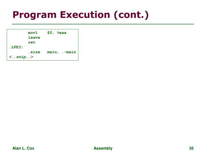 Program Execution (cont.)
