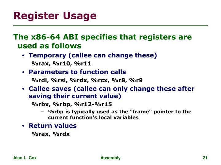 Register Usage