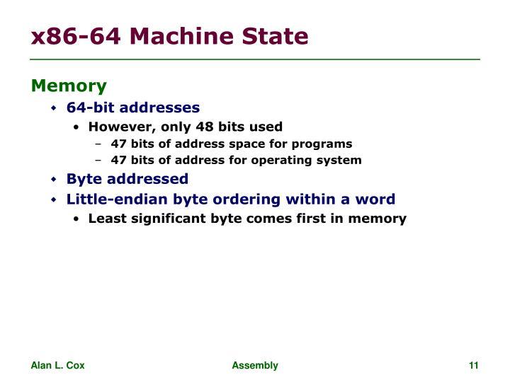 x86-64 Machine State