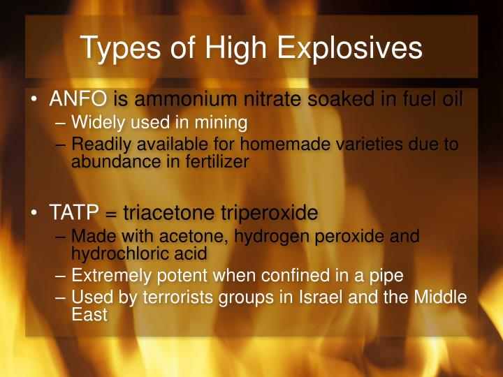 Types of High Explosives