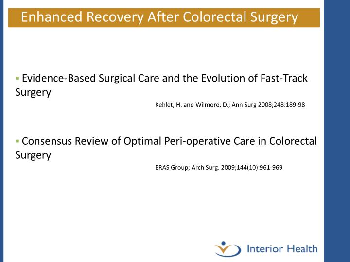 Enhanced Recovery After Colorectal Surgery