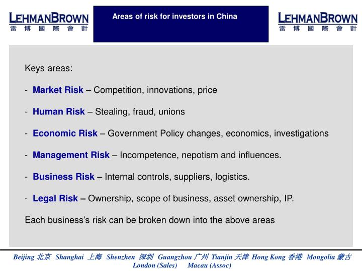 Areas of risk for investors in China