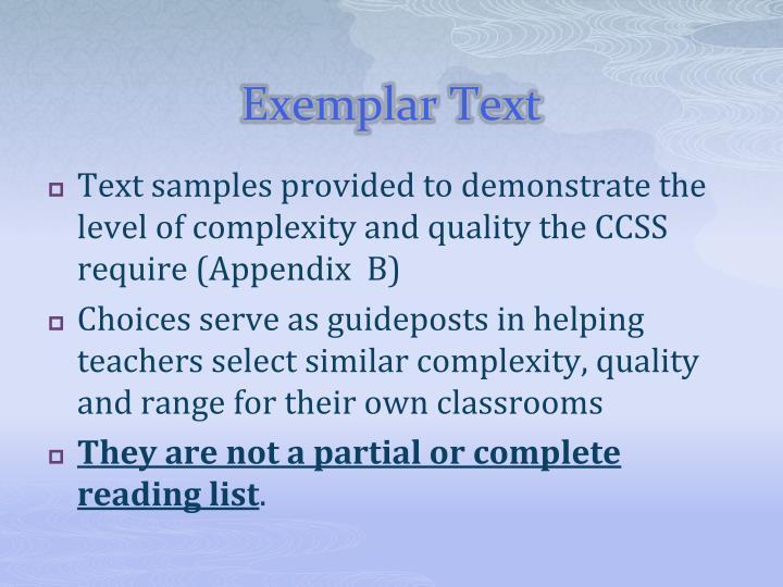 Exemplar Text