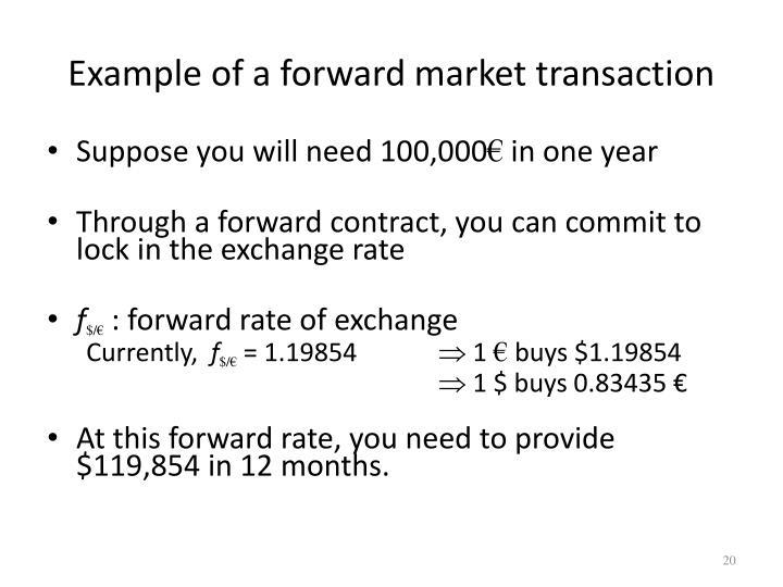 Example of a forward market transaction