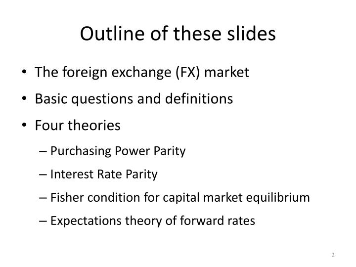 Outline of these slides