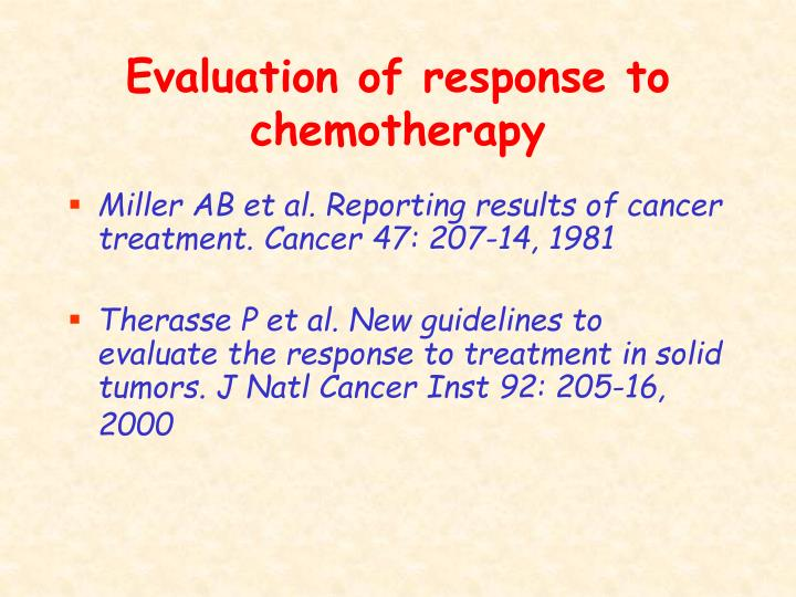 Evaluation of response to chemotherapy