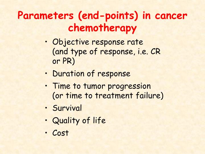 Parameters (end-points) in cancer