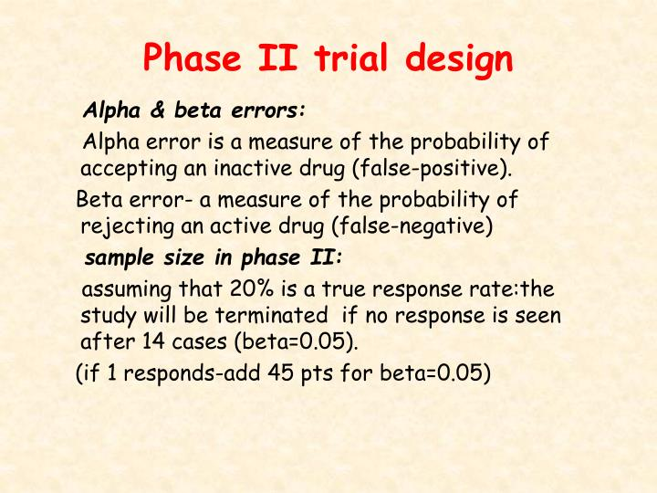Phase II trial design