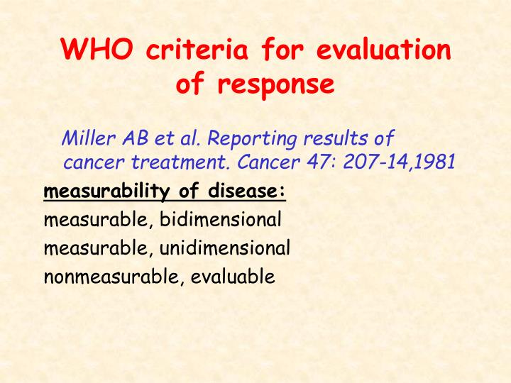 WHO criteria for evaluation of response
