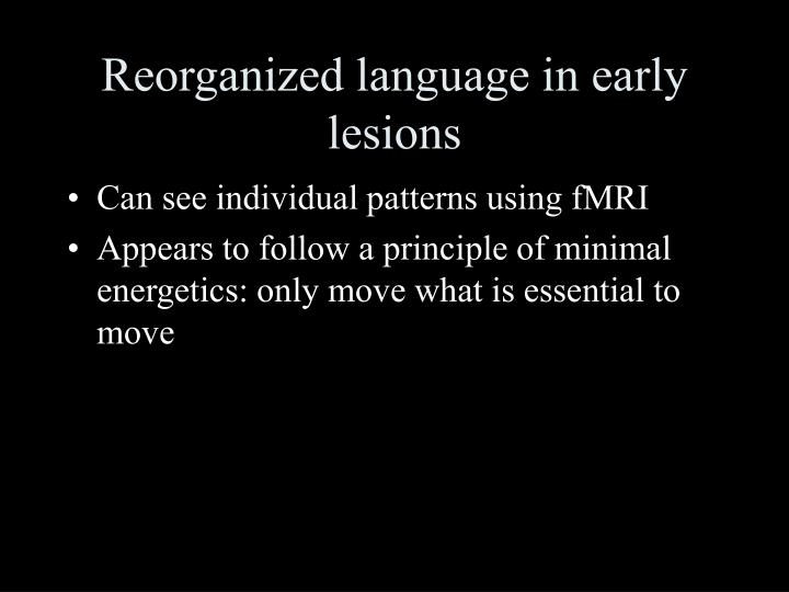 Reorganized language in early lesions