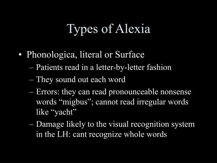 Types of Alexia