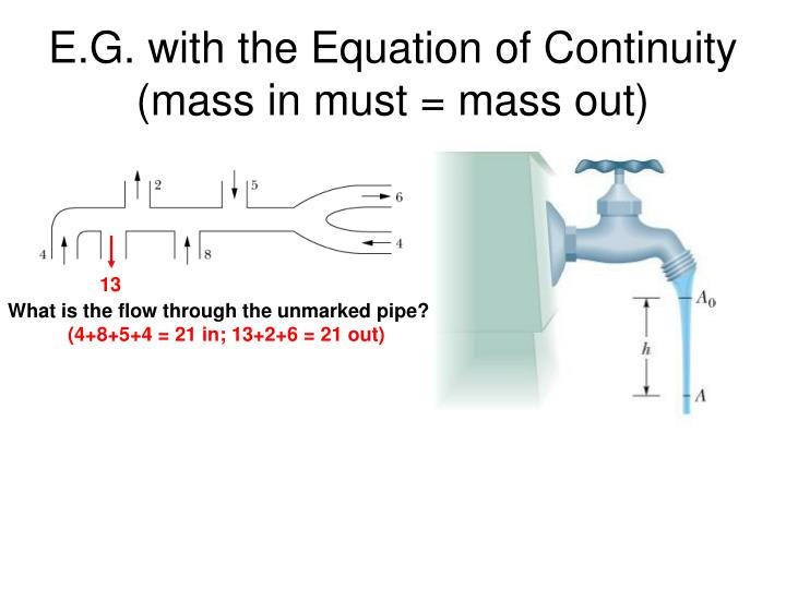 E.G. with the Equation of Continuity