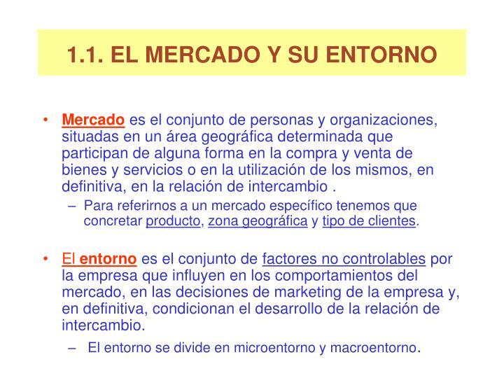1.1. EL MERCADO Y SU ENTORNO