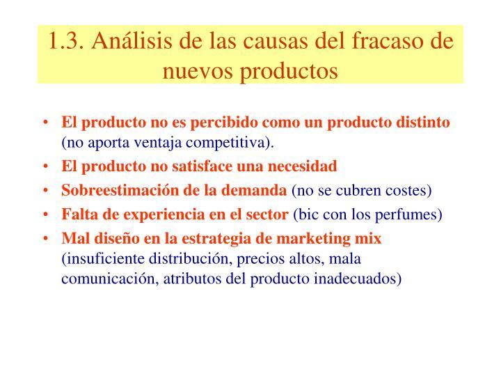 1.3. Análisis de las causas del fracaso de nuevos productos