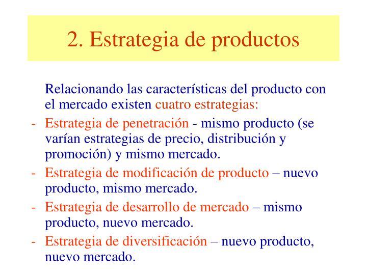 2. Estrategia de productos
