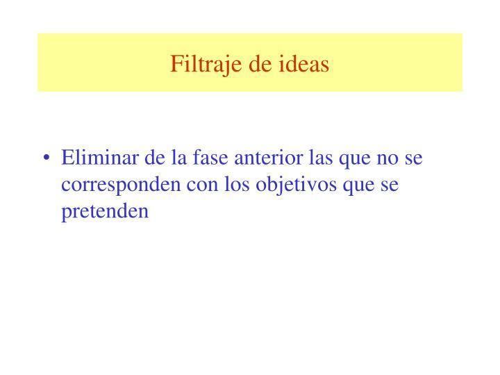 Filtraje de ideas