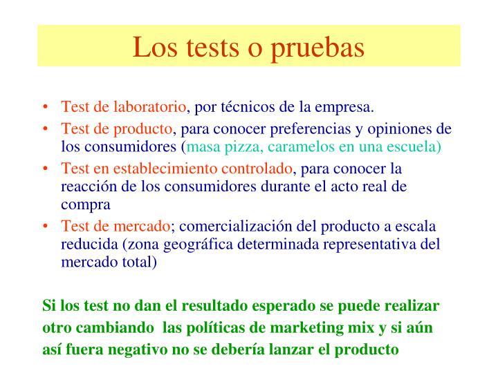Los tests o pruebas