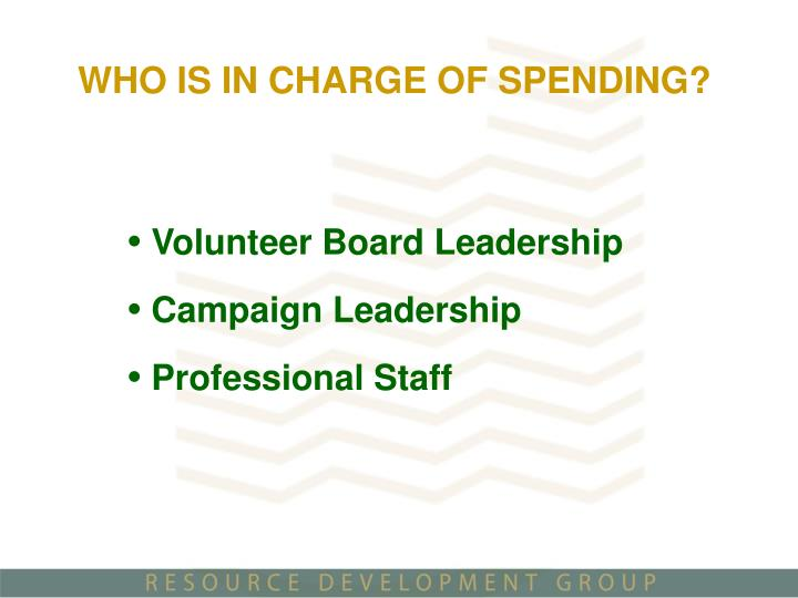 WHO IS IN CHARGE OF SPENDING?