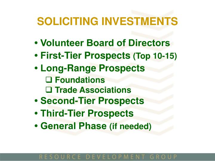 SOLICITING INVESTMENTS